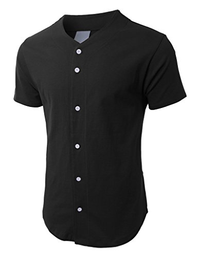 - Hat and Beyond Mens Baseball Button Down Jersey 1KSB0002 (Large, 1ks02_Black)