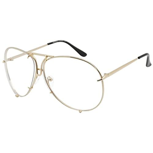 27c6560004 Oversized Retro Modern Cut Out Double Bar Nose Bridge No Prescription  Fashion Light Tint Clear Lens