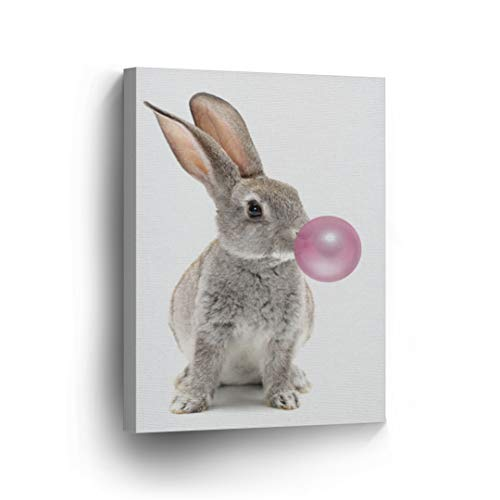 Bunny Rabbit Animal Decor Bubble Gum Art Pink Canvas Print Wall Art Kids Gift Nursery Room Decor Stretched and Ready to Hang- Handmade in The USA - 22x15