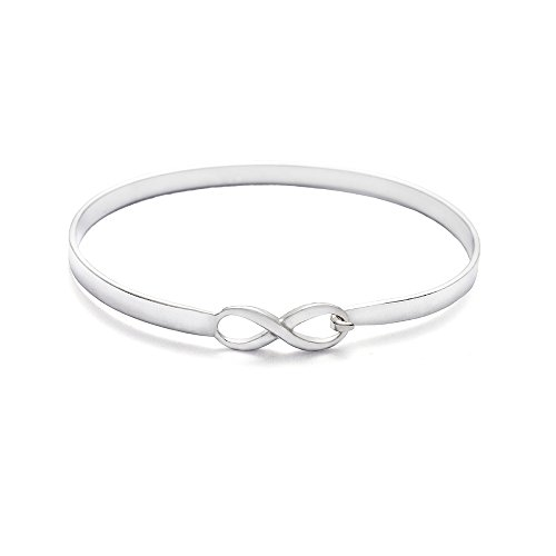 - Engravable Sterling Silver Infinity Bangle Bracelet, 7 inches