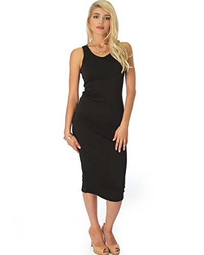 Back Body Con Dress - Lyss Loo Women's Racer-Back Body-con Sleeveless Midi Dress In Black - Medium