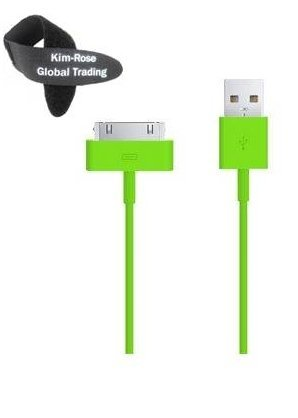 KR Global Trading - 10' FT Green Extension USB Sync Cable Power Cord Charger Supports iPhone 4S 4 3GS iPad 1 2 3, iPod + Free Tie