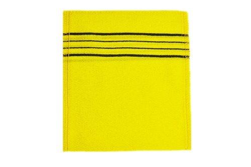 (5Pcs Yellow Exfoliating Scrub Bath Mitten massage Italy Towel - (Made in Korea))