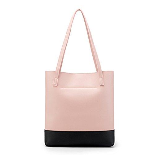 Yuncai Nappa Con Per Tote A Borse Telefono Mano Tracolla paghetta Pink Casuale Borsa Shopper Semplice Donna xBHSPx