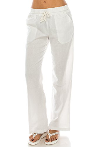 Poplooks Women's Beachside Soft Palazzo Style Linen Pants (Large, White) by Poplooks (Image #1)