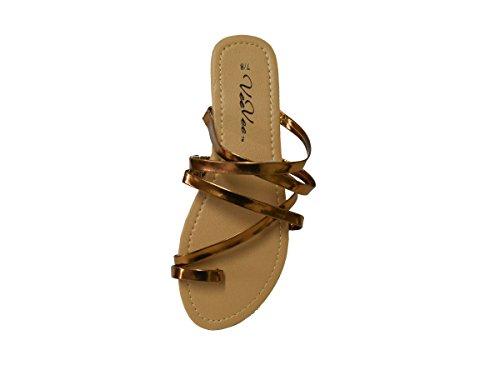 Kvinners Remmer Gladiator Flate Sommer Sandaler (gs-sandaler) 6371-metallisk  Brune
