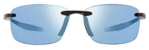 Revo Unisex RE 4059 Descend N Rectangular Polarized UV Protection Sunglasses, Black Frame, Blue Water ()