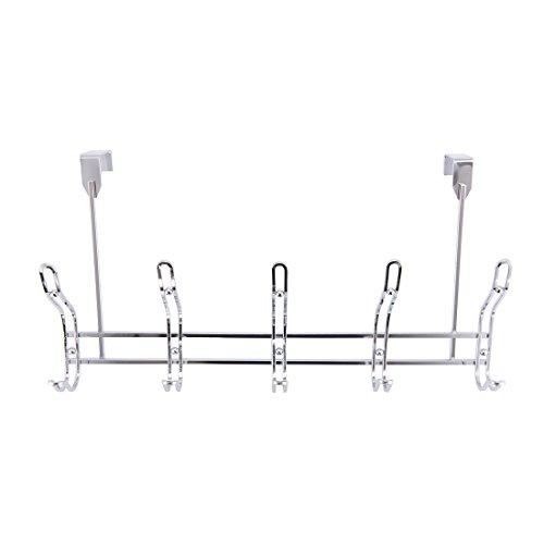 Stainless Steel Towel Hook, Overdoor Hook, Hanging for Coat, Hat, Towel, 10 Hooks Organizer Rack, for Bathroom, Bedroom Overdoor Hat Rack