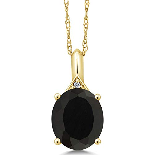 - Gem Stone King 4.02 Ct Oval Black Onyx White Diamond 14K Yellow Gold Pendant