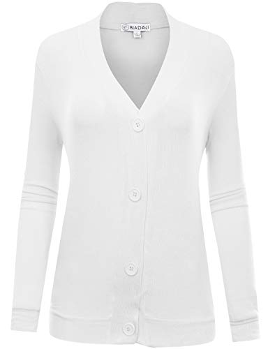 BIADANI Women's Long Sleeve Button Cardigan witih Pockets White X-Large (Nylon Cardigan V-neck)