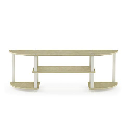 Furinno Turn-S-Tube TV Entertainment Center, Cream Faux Marble/White (Sal's Furniture)