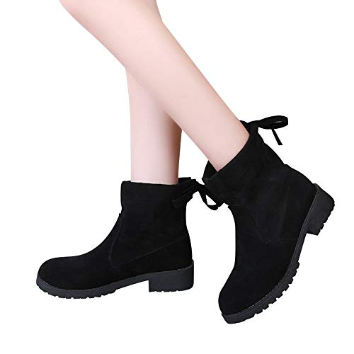 Shoes Boots Clearance Sale !! FarJing British Wind Suede Complex Valley Bare Boots Platform Women's Boots Ankle Boots(US:7.5,Black)