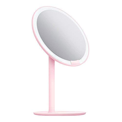 AMIRO LED Makeup Mirror with Lights, Cordless, Dimmable, 1X/5X Magnification, 6.5