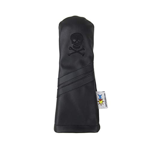 (Sunfish Skull and Crossbones Murdered Out Black Leather Hybrid Golf Headcover)