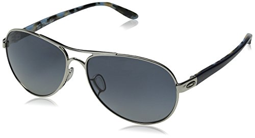 Oakley Women's OO4108 Tie Breaker Aviator Metal Sunglasses, Polished Chrome/Grey Gradient Polarized, 56 ()