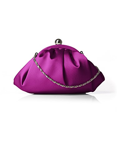 Women's Gathered Matte Satin Clutch Purse with Optional Silver Chain by Dessy - Persian Plum - Plum Clutch