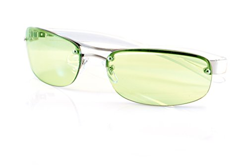 FBL Semi-Rimless Color Tinted Clear Arm Eyeglasses Wrap Sunglasses A218 (Green)