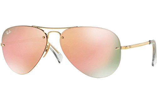 Ray-Ban's Authentic Aviator Sunglasses RB3449 Shinny Gold Frame / Pink Mirrored Lenses (001/Y2) RB3449 001/Y2 - Mirrored Aviators Pink Ray Ban