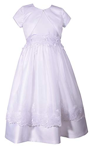 Bonnie Jean Girl's First Holy Communion Dress with Cardigan (7) White ()