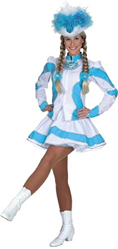 Ladies Deluxe Baby Blue Holographic Silver Carnival Dance Troupe Theatre Show Majorette Parade Celebration Fancy Dress Costume Outfit (UK 14 (EU 42))]()