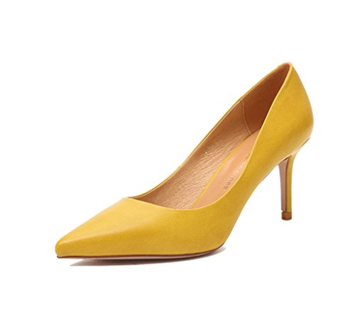 Elegant feminine7.5cm hohe Absätze reizvolle Sandelholze arbeiten gelbe spitze-Zeheschuhe um ( Farbe : Gelb , größe : 39 ) Gelb