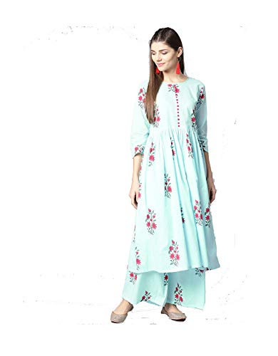 Dream Angel Fashion Women Navy Blue & Pink Cotton Printed A-Line Kurta with Palazzos Without Dupatta (XX-Large-42)