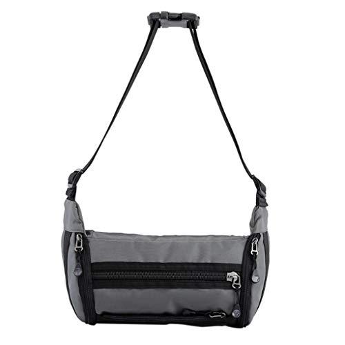 DealinM  Men's Bag,HAOSHUAI Men's Canvas Shoulder Bag Multi-Function Chest Bag Solid Color Chest Bag Wild Gray