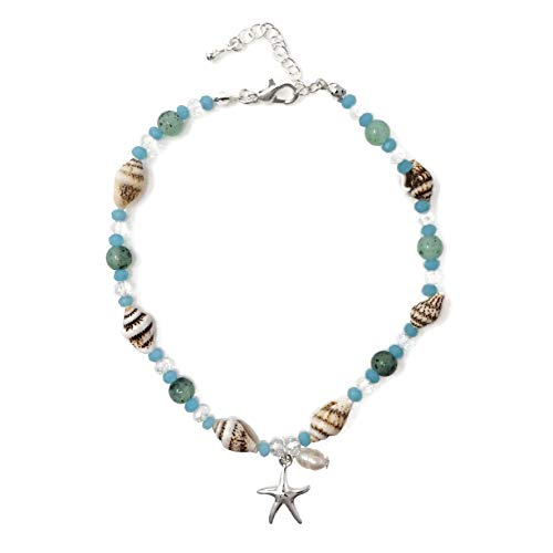 Freshwater Blue Pearl Beads - Elosee Sealife Theme Seashell Freshwater Pearl Bead Anklet
