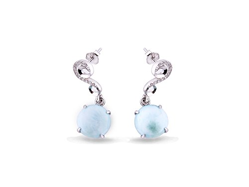 Tuoke Larimar Drop Dangle Earrings 14K White Gold Plated Sterling Silver Jewelry and Round Cut Larimar Blue Natural Hand Made Gemstone Earrings Jewelry for Woman and Girl ()