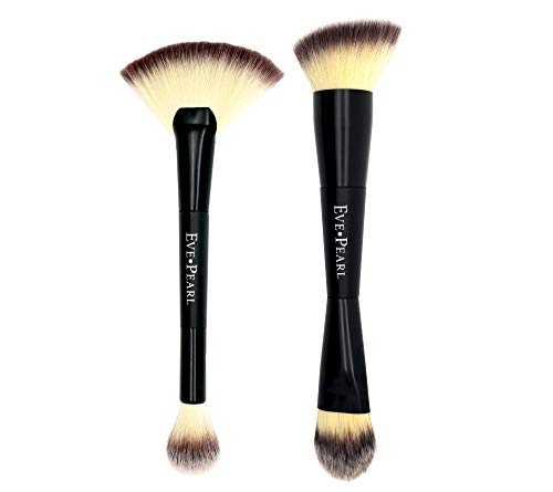 EVE PEARL Dual Brush Set Contour Blending Fan Highlighter Must Have Makeup Brushes Set Of 2 Synthetic Cruelty Free Hypoallergenic (Have Brows Must For Kit)