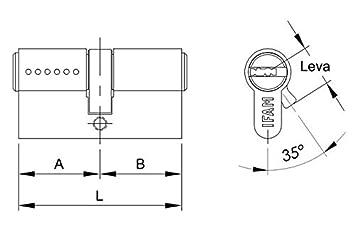30x40, Laton IFAM WX1000 Bombin de Seguridad Reforzado Doble Embrague Antirotura Antibumping Antitaladro Leva Antiextracci/ón Cerradura para Puerta Incluye 5 Llaves Cilindro Tarjeta de Seguridad