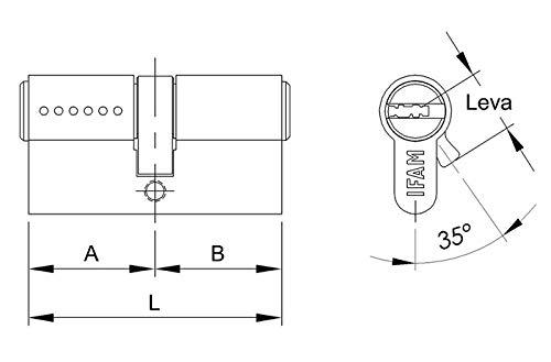 IFAM WX1000 Bombin de seguridad 30x30 color LATON, reforzado, antirotura, antibumping, antitaladro, leva antiextracción, cerradura para puerta, ...