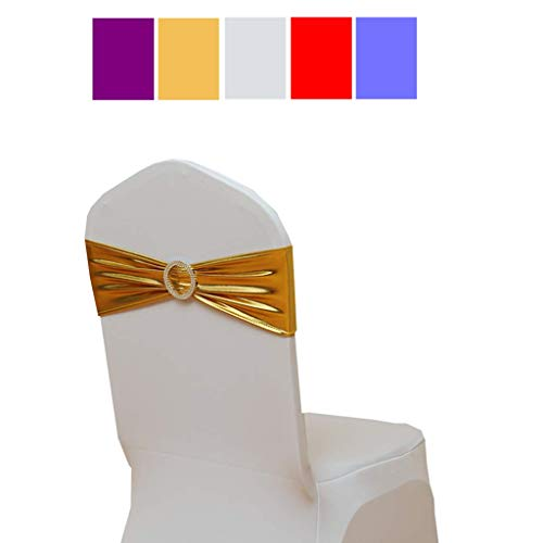 Fvstar 20pcs Chair Sashes Bows Elastic Spandex Wedding Chair Bows Decorative Elegant Party Chair Cover Sashes Ties Ribbons Bands for Events Birthday Baby Shower Banquet Decorations,Metallic Gold