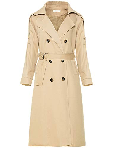 Yeokou Women's Causal Double Breasted Full Length Long Trench Coat with Belt (Medium, Khaki)