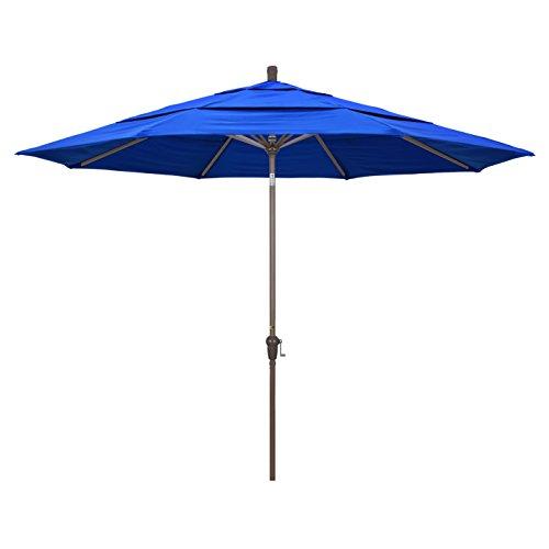 Pacific Blue Sunbrella (California Umbrella 11' Round Aluminum Market Umbrella, Crank Lift, Auto Tilt, Champagne Pole, Sunbrella Pacific Blue)