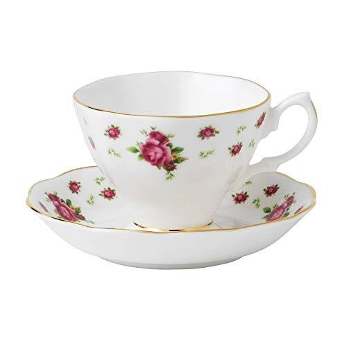Royal Albert New Country Roses Formal Vintage Teacup and Saucer Boxed Set, White