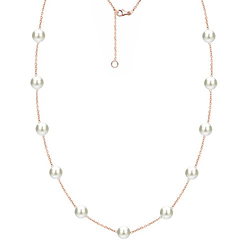 Rose Gold Plated Sterling Silver Tin Cup Freshwater Cultured White Pearl Station Necklace 6-6.5mm 18 inch