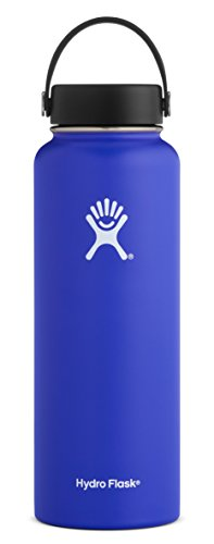Hydro Flask 40 oz Double Wall Vacuum Insulated Stainless Steel Leak Proof Sports Water Bottle, Wide Mouth with BPA Free Flex Cap, Blueberry