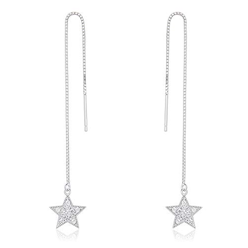 NY Jewelry 925 Sterling Silver Star Design Threader Earrings for Women Jewelry Gifts