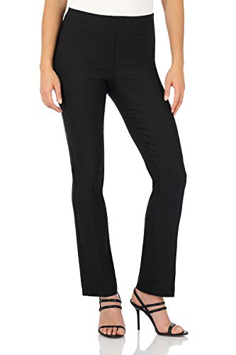 Rekucci Women's Ease in to Comfort Straight Leg Pant with Tummy Control (4SHORT,Black)