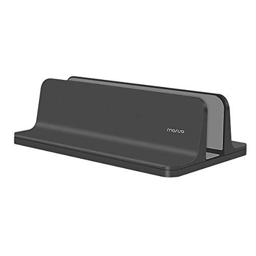 MOSISO Laptop Stand Vertical, Soporte de Escritorio de Aleacion de Aluminio Muelle para Ahorrar Espacio Compatible con iPad Pro/MacBook Air/MacBook Pro/Surface Pro y Otro Portatil, Negro