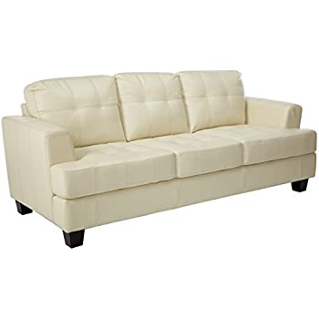 Beau Coaster Samuel Collection Cream Leather Sofa