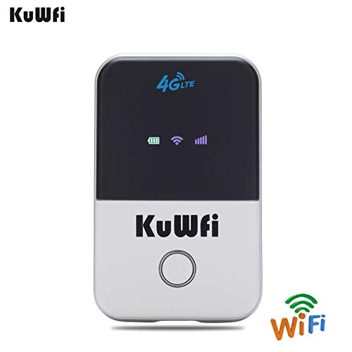 KuWFi 4G LTE Router Unlocked Travel Partner 4G LTE Wireless 4G Router with SIM Card Slot Support LTE FDD B1/B3/B5 Support AT&T and U.S. Cellular 4G