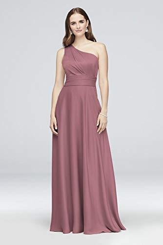 - David's Bridal Satin Crepe One-Shoulder Bridesmaid Dress Style OC290063, Quartz, 12
