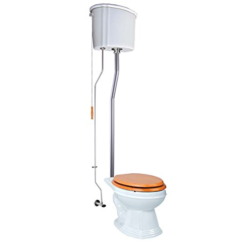 Renovator's Supply White High Tank Pull Chain Toilet Ceramic Tank Elongated High Tank Toilet ()