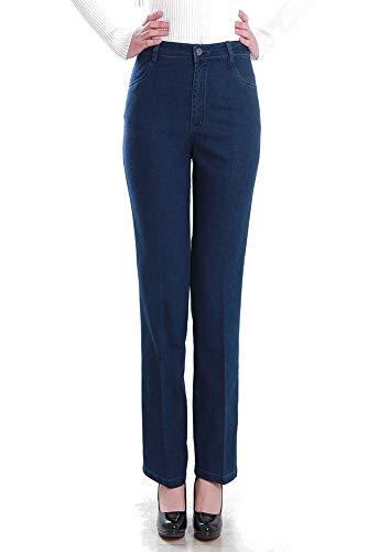 Xfentech Blu Alta Jeans Forti Gamba Cerniera Taglie Elasticizzato Pantaloni Vita Dritta Donna Casual HHAr7xqU