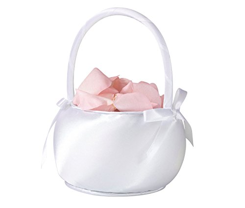 Lillian Rose Elegant Shiny White Satin Flower Girl Basket ()