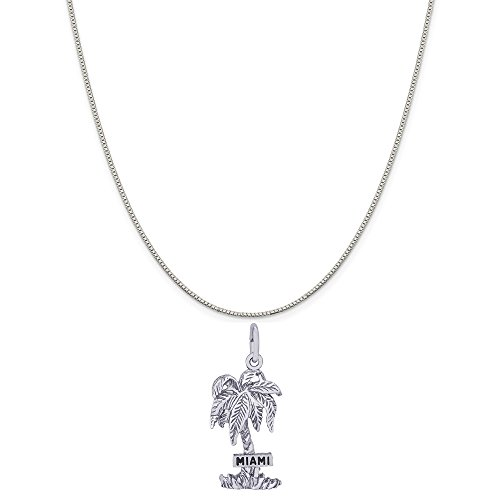 Rembrandt Charms Sterling Silver Miami Palm Tree Charm on a Sterling Silver Box Chain Necklace, 16