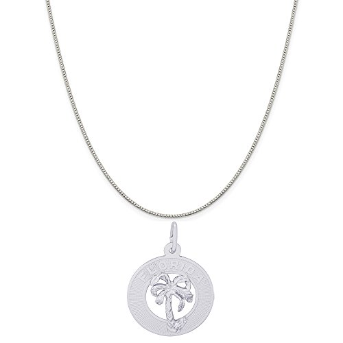 Rembrandt Charms 14K White Gold Florida Palm Tree Charm on a Box Chain Necklace, 16