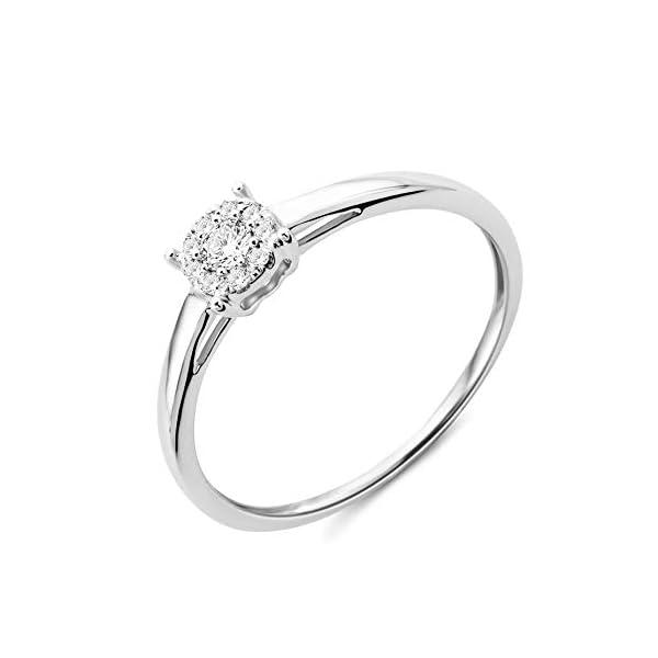 Miore - Anello di fidanzamento da donna in oro bianco 375 a 9kt e diamanti brillanti da 0,10 kt 1 spesavip